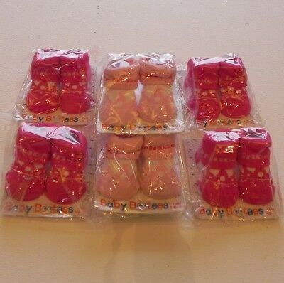 Job Lot Soft Touch Baby Girl Pink Princess Socks Bootees 0-3Mths X 7 Pairs