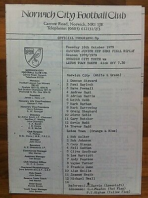 Norwich Youth v Luton Youth - Eastern Junior Cup S/F Replay (78/79) 16 Oct 1979