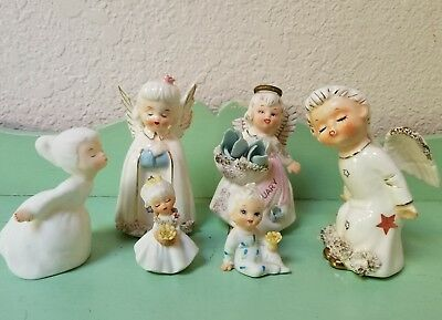 Beautiful lot of 6 Vintage Figurines Lefton Norcrest Japan Kitsch Christmas