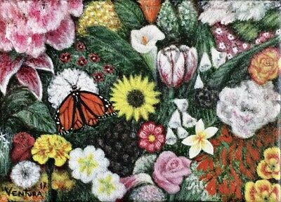 """Original Acrylic Painting """"Colorful Garden"""" by Robert Ventura, butterfly roses"""