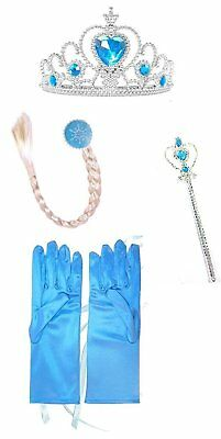 Ice Princess Elsa Accessories Set with Gloves, Crown, Hair piece and Wand