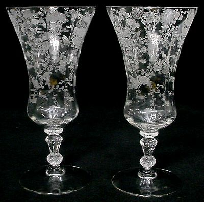 CAMBRIDGE crystal ROSE POINT 3500 pattern ICED TEA Glass or Goblet Set of TWO