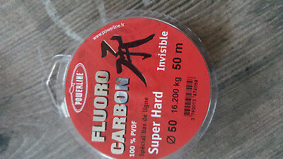 NYLON DE PECHE POWERLINE FLUOROCARBON SUPER HARD 50M Modèle: 50/100