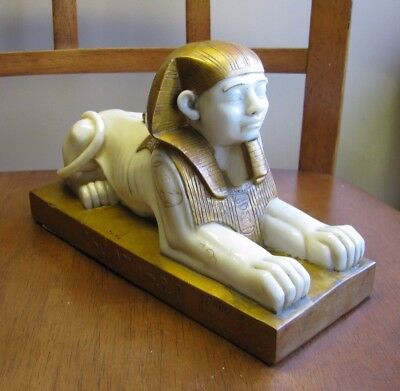 SPHINX STATUE OF KING AMMENEMES II Vintage Figurine Egyptian hieroglyphs