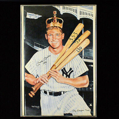 Mickey Mantle Signed Triple Crown Lithograph