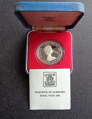 1978 Guernsey Silver Proof 25 Pence Crown Coin Royal Visit Boxed+COA