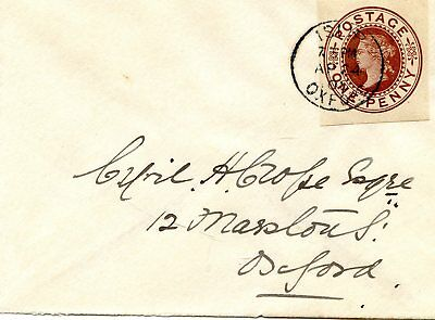 Gb Ke Vii 1905 Envelope Franked With A One Pennyqv Cut-Out.