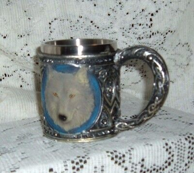 """White Wolf Silver Mug Cup   Sy-52 4""""x 5 1/2""""x 4""""  Boxed New"""