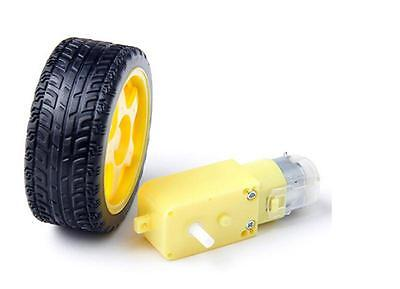 For Arduino Smart Car Robot Plastic Tire Wheel With DC 3-6v Gear MotorP&T