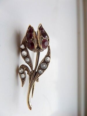 Victorian Silver Gilt and Paste Tulip Brooch