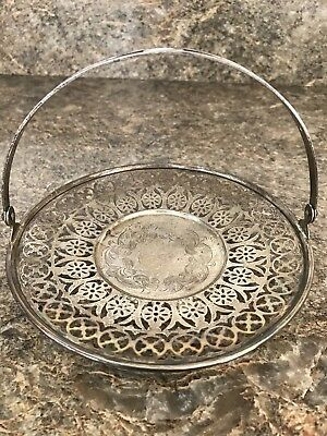 Antique STERLING SILVER CANDY Dish With Handle BOWL TRAY Marked 162 1/2