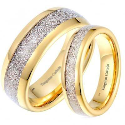 c87efb9d41f9c HIS AND HERS Matching Meteorite Inlay Gold Wedding Engagement Band Ring Set