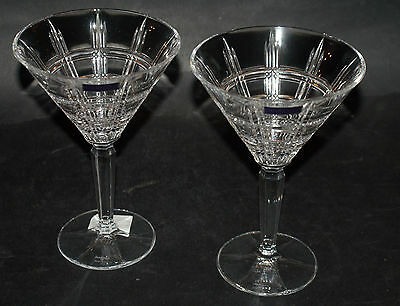 Waterford Crystal Marquis ~ Crosby Cut ~ Set Of TWO Martini ~ BOXED NEW