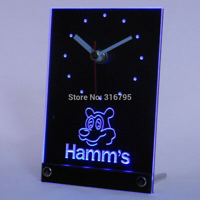 Hamms Beer Drink Gift Table Desk Clock Watch Time 3D LED Neon Light Bed Bar Pub