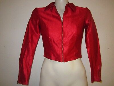Vintage 1970s LE GAMBI cropped stretch satin jacket disco era womens S zip up