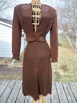 40S Brown Wool Swing Suit Studded Crop Fitted Coat Shoulders Pads Sm