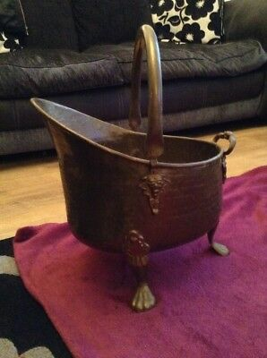 Large Vintage Brass Coal Bucket Scuttle