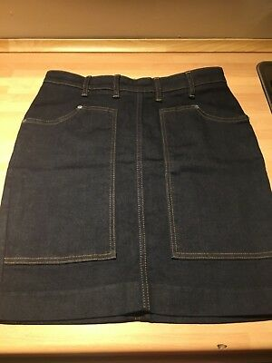 BNWOT All Saints Ella Short Denim Skirt With Back Zip Feature Size 10