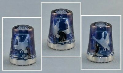 Ullman Glass Germany Crystal Blue Thimble - Ducks