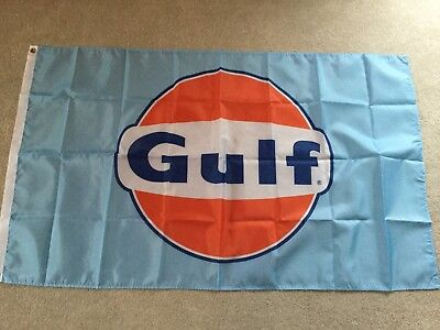 Gulf oil Ford GT40 Porsche 917 workshop flag banner