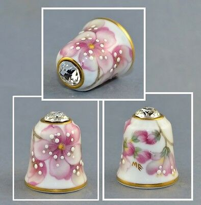 Sutherland Jawel Crowned Flower Swarovski Top Thimble # 7