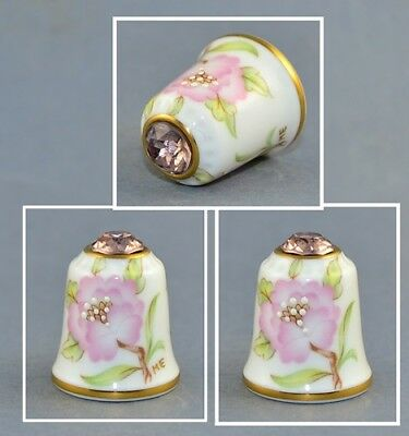 Sutherland Jawel Crowned Flower Swarovski Top Thimble # 8