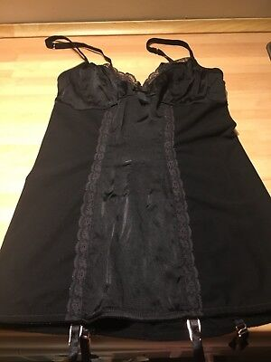 Myla Silk and Lycra Basque with Suspenders and Adjustable Straps Size Small