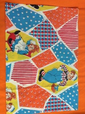 1970's Vintage Raggedy Ann and Raggedy Andy Pillowcase Bright Colors
