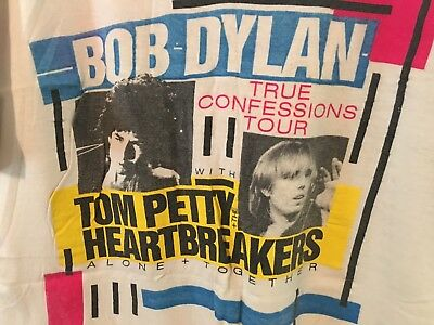 Vintage Large 1986 Tom Petty & The Heartbreakers/bob Dylan Large Concert T-Shirt