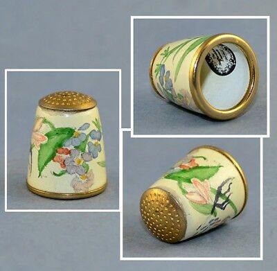 Staffordshire Enamel Old Hall Hand Painted Thimble