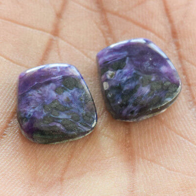 19.5Cts 100% Natural Charoite Pair Fancy 15X15 Cabochon Loose Gemstone