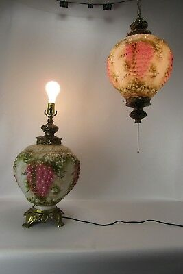 Matching Pair of Large Decorative Bordello Lamps, one table, one hanging.