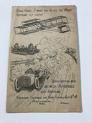 1910 Parkersburg Centennial Homecoming West Virginia WV Airplane Postcard