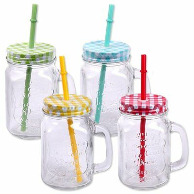 Pack of 4 Drinking Jars with Lid, Handle and Straw Cocktail Drinking Jar 500 ml