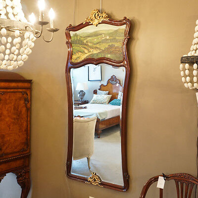 Beautiful Mahogany Carved wall Mirror with Hand Painted Mural at the top