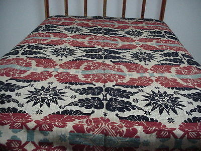 Antique Wool Tri-Colored Jacquard Coverlet-Acanthus Leaf, Star, Medalion Design