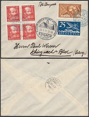 Switzerland 1932 - Airmail cover and used stamps from Basel    (G28060)  A8004