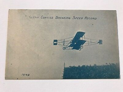 Glenn Curtiss Breaking Speed Record Aviation 1910 Vintage Airplane Postcard