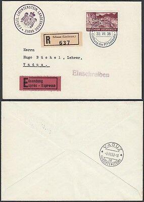 Liechtenstein 1938 - Registered  cover and used stamps to Vaduz (G25809) A8065
