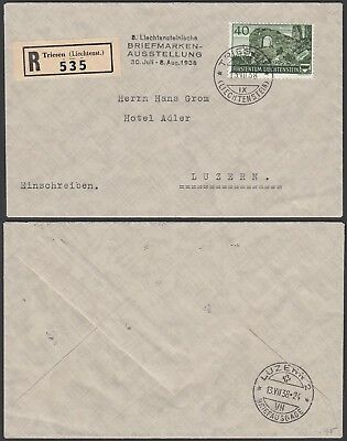 Liechtenstein 1938 - Registered  cover and used stamp to Luzern (G25809) A8071