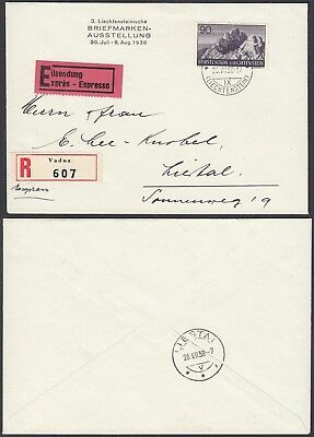Liechtenstein 1938 - Registered  cover and used stamp from Vaduz (G25809) A8073