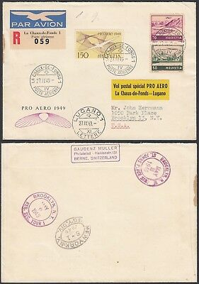 Switzerland 1949 - Registered airmail cover  to New York (G28060)  A8047