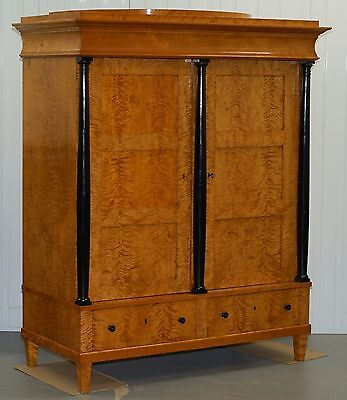 Circa 1880 Solid Flamed Satin Birch Swedish Biedermeier Armoires Cupboard Shelve