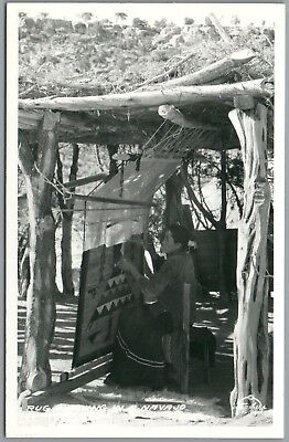Rug Weaving in a Navajo Home - Frasher's RPPC Real Photo Postcard