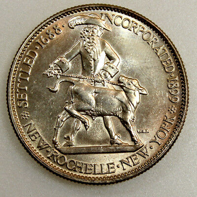 1938 50C New Rochelle Silver Commemorative Gem Bu