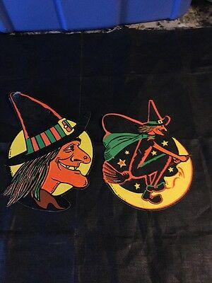 Vintage Halloween Decoration Beistle Co. Two Embossed Witches Scary On Broom