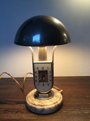 VINTAGE MOFEM DECO LAMP WITH CLOCK MARBLE BASE BAUHAUS STYLE 30s