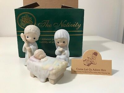 "Precious Moments Nativity Scene ~ 142743 ~ w/ Box 1995  ""Come let us adore him"""