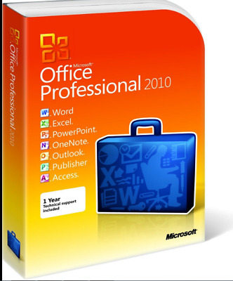 Genuine Microsoft Office Professional 2010 Key/Download 32/64 Bit - 2 PC USERS