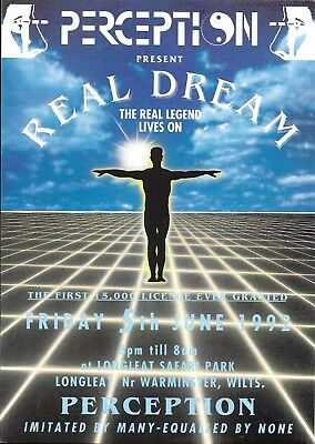 Perception - Real Dream Rave Flyer 1992 - DJ Sasha, Grooverider, Carl Cox, Fabio